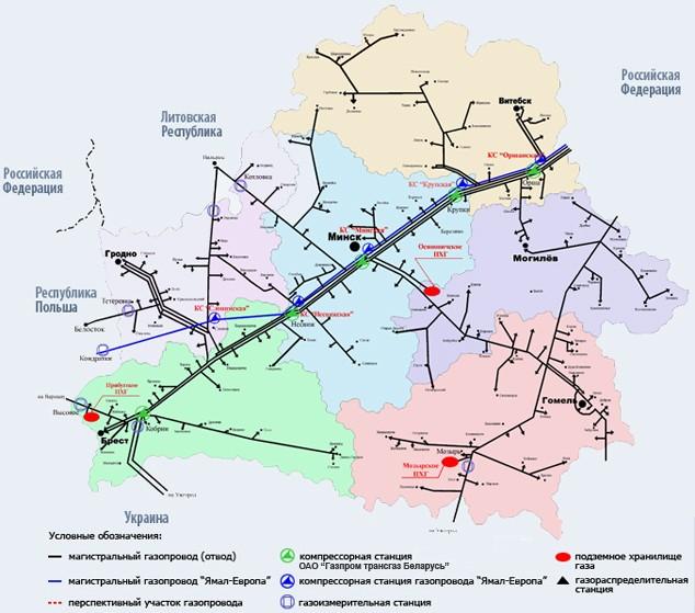 Карта магистральных